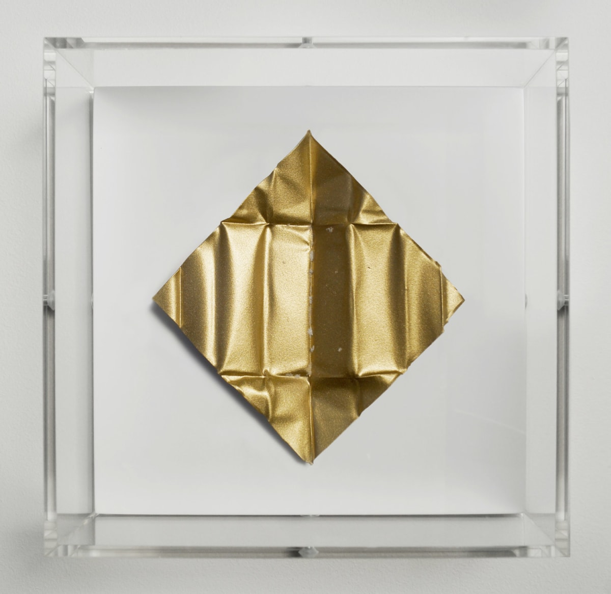 Mat Collishaw The Release - Gold Dollar, 2018 Diamond dust, folded aluminium, wood, acrylic, paint FRAMED 18.5 x 18.5 x 6.5 cm Edition of 10 Signed and numbered