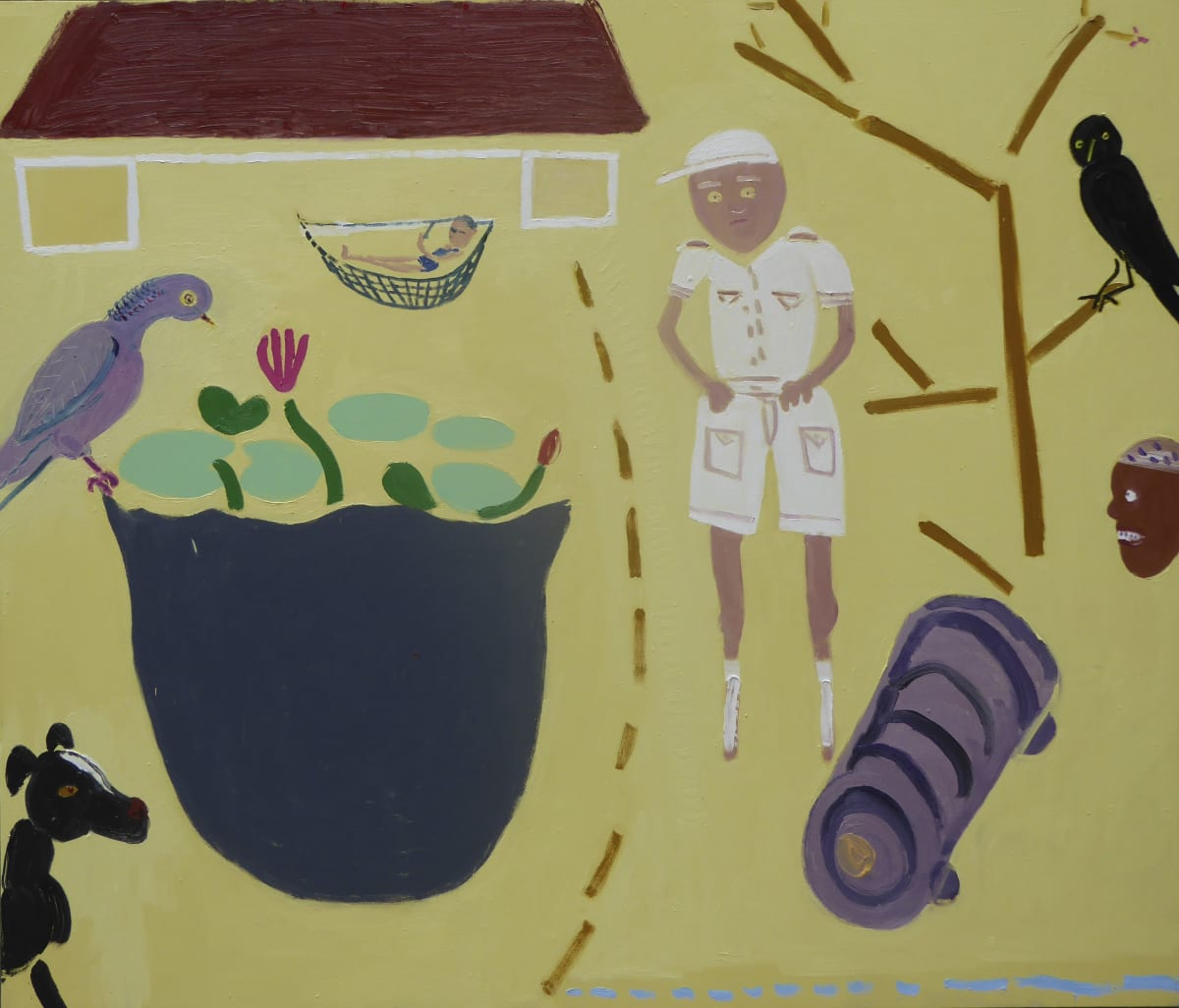 Georgia Hayes Faithlyn and Trevor and Trixie at the Great House, 2016 Oil on canvas. Signed on verso 183 x 214 cm