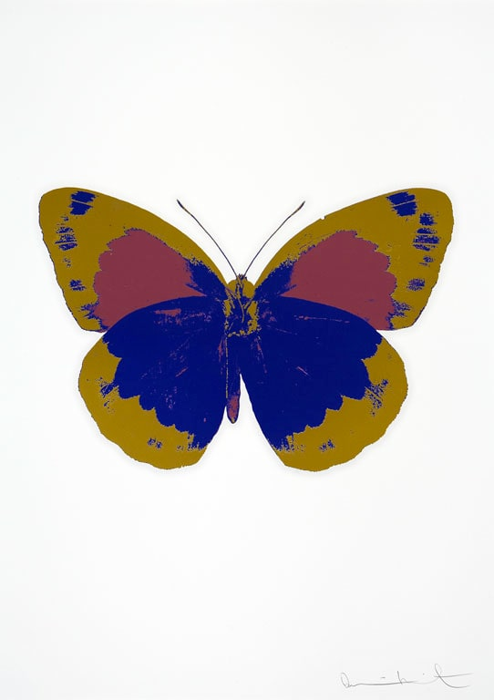 Damien Hirst The Souls II - Westminster Blue/Oriental Gold/Loganberry Pink, 2010 3 colour foil block on 300gsm Arches 88 archival paper. Signed and numbered. Published by Paul Stolper and Other Criteria 72 x 51cm OC7874 / 658-57 Edition of 15