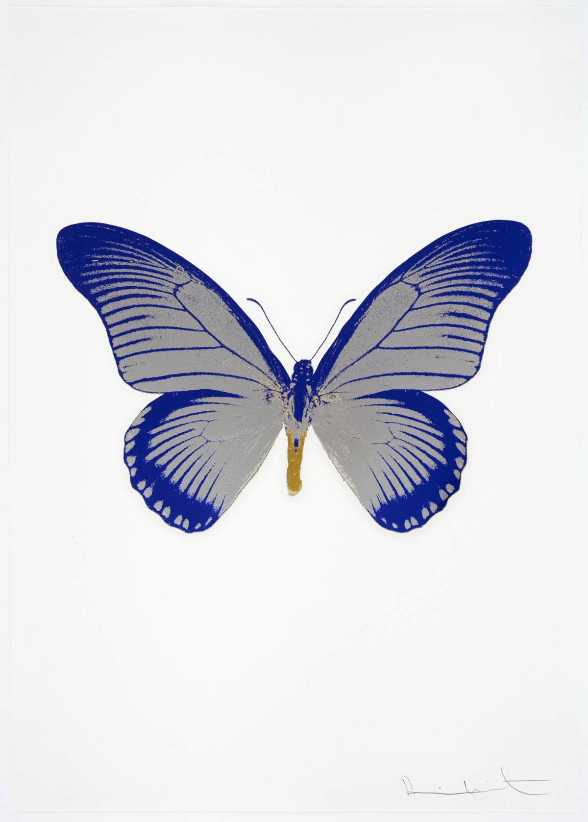 Damien Hirst The Souls IV - Silver Gloss/Westminster Blue/Oriental Gold Damien Hirst butterfly foil print for sale Damien Hirst print for sale , 2010 3 colour foil block on 300gsm Arches 88 archival paper. Signed and numbered. Published by Paul Stolper and Other Criteria 72 x 51cm OC8028 / 1418-51 Edition of 15