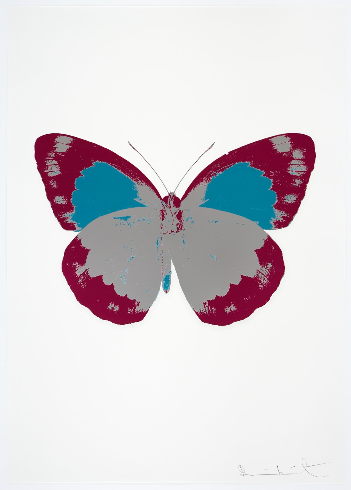 Damien Hirst The Souls II - Silver Gloss/Fuchsia Pink/Topaz, 2010 3 colour foil block on 300gsm Arches 88 archival paper. Signed and numbered. Published by Paul Stolper and Other Criteria 72 x 51cm OC7879 / 658-62 Edition of 15