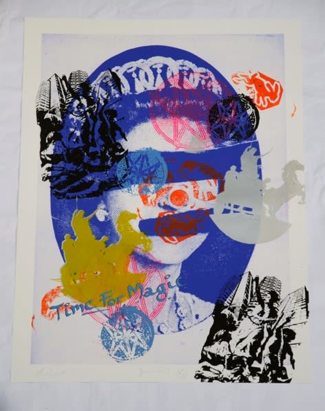 Jamie Reid Liberty (Blue), 2011 Inkjet base print on 310 gsm Hahnemuhle 'German Etching' Paper with acrylic screen print additions. Signed, numbered and titled by the artist. Sheet size 112 x 82.4 cm. Sheet size 44.1 x 32.4 in ed.1/10