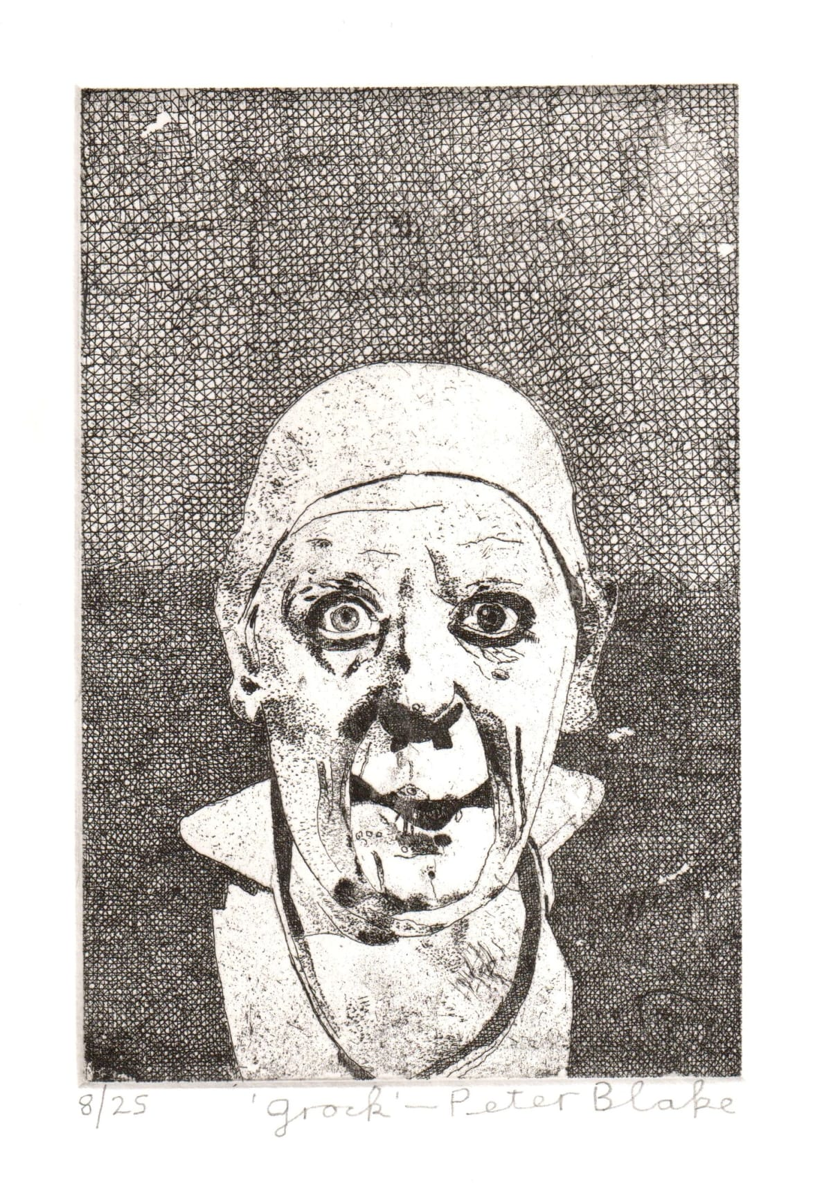 Peter Blake Grock, 2019 Etching on somerset 300gsm velvet Signed, titled and numbered Sheet Size: 26 x 21 cm Image size: 10 x 15 cm Edition of 25
