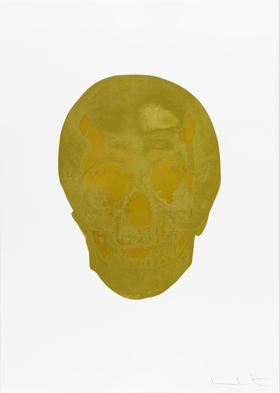 Damien Hirst Death Or Glory Hazy Gold/European Gold Glorious Skull, 2011 2 colour foil block on 300gsm Arches 88 archival paper. Signed and numbered. Published by Paul Stolper and Other Criteria. White aluminium powder coated frame. 72 x 51 cm; Framed 76.8 x 55.8 cm OC8363 Edition of 2