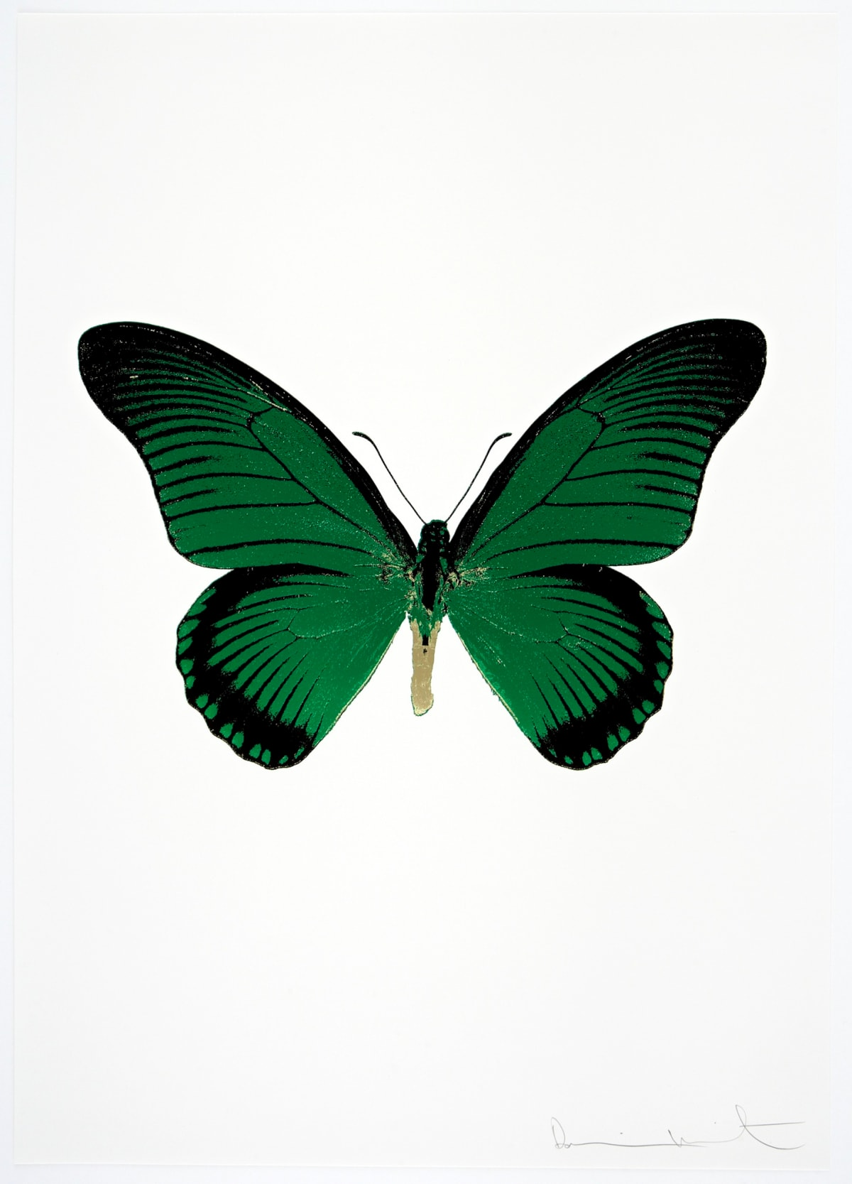 Damien Hirst The Souls IV - Emerald Green/Raven Black/Cool Gold Damien Hirst butterfly foil print for sale Damien Hirst print for sale , 2010 3 colour foil block on 300gsm Arches 88 archival paper. Signed and numbered. Published by Paul Stolper and Other Criteria 72 x 51cm OC8049 / 1418-72 Edition of 15