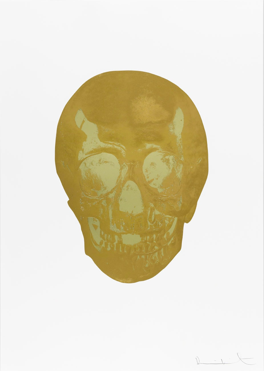 Damien Hirst Death Or Glory Autumn Gold/Cool Gold Glorious Skull, 2011 2 colour foil block on 300gsm Arches 88 archival paper. Signed and numbered. Published by Paul Stolper and Other Criteria. White aluminium powder coated frame. 72 x 51 cm; Framed 76.8 x 55.8 cm OC8387 Edition of 2