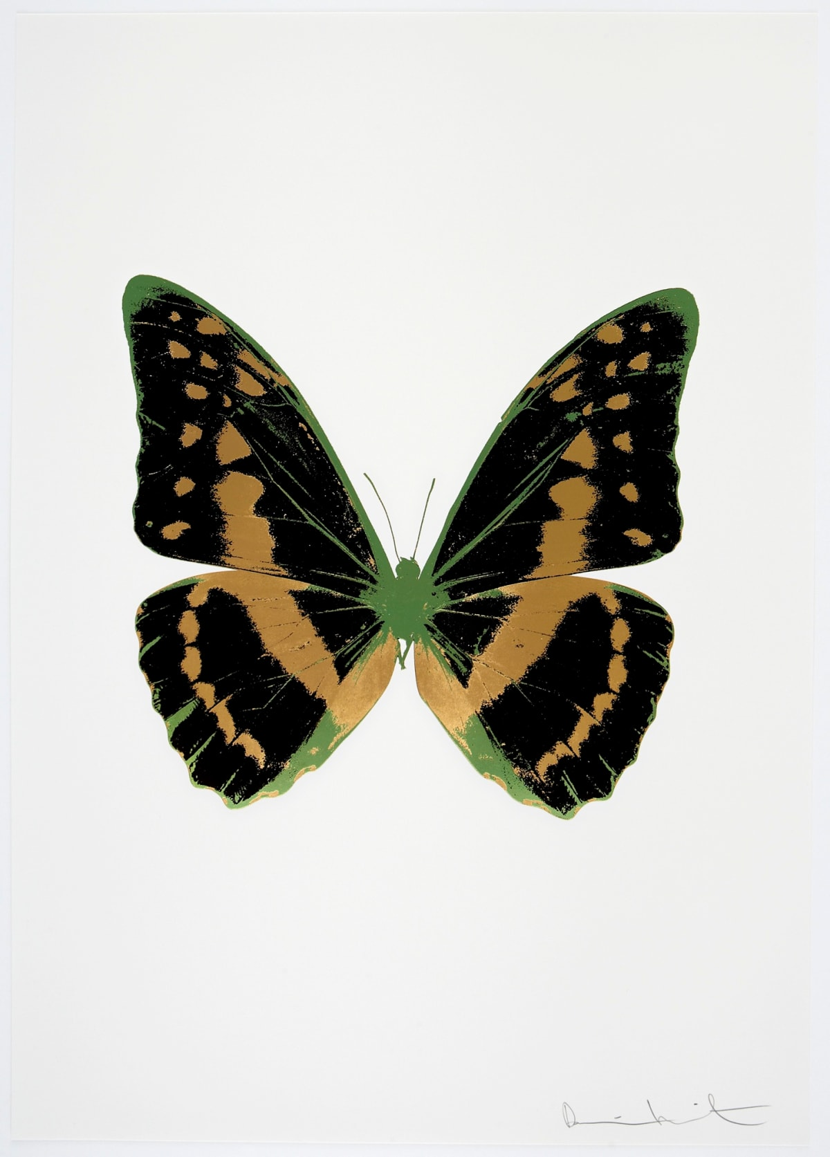 Damien Hirst The Souls III - Raven Black/African Gold/Leaf Green, 2010 3 colour foil block on 300gsm Arches 88 archival paper. Signed and numbered. Published by Paul Stolper and Other Criteria 72 x 51cm OC7940 / 660-43 Edition of 15