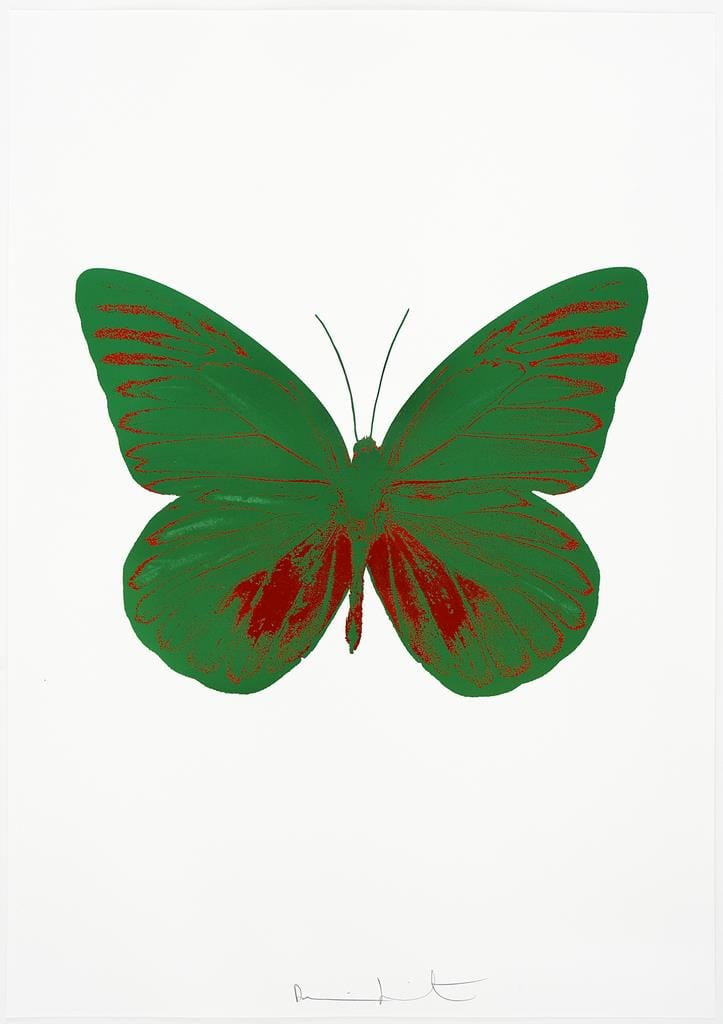 Damien Hirst The Souls I - Emerald Green/Chilli Red, 2010 2 colour foil block on 300gsm Arches 88 archival paper. Edition of 15, 5 AP's. Signed and numbered. Published by Paul Stolper and Other Criteria 72 x 51cm OC7798 / 659-61 28.3 x 20.1 3070.1 25968.9 Edition of 15