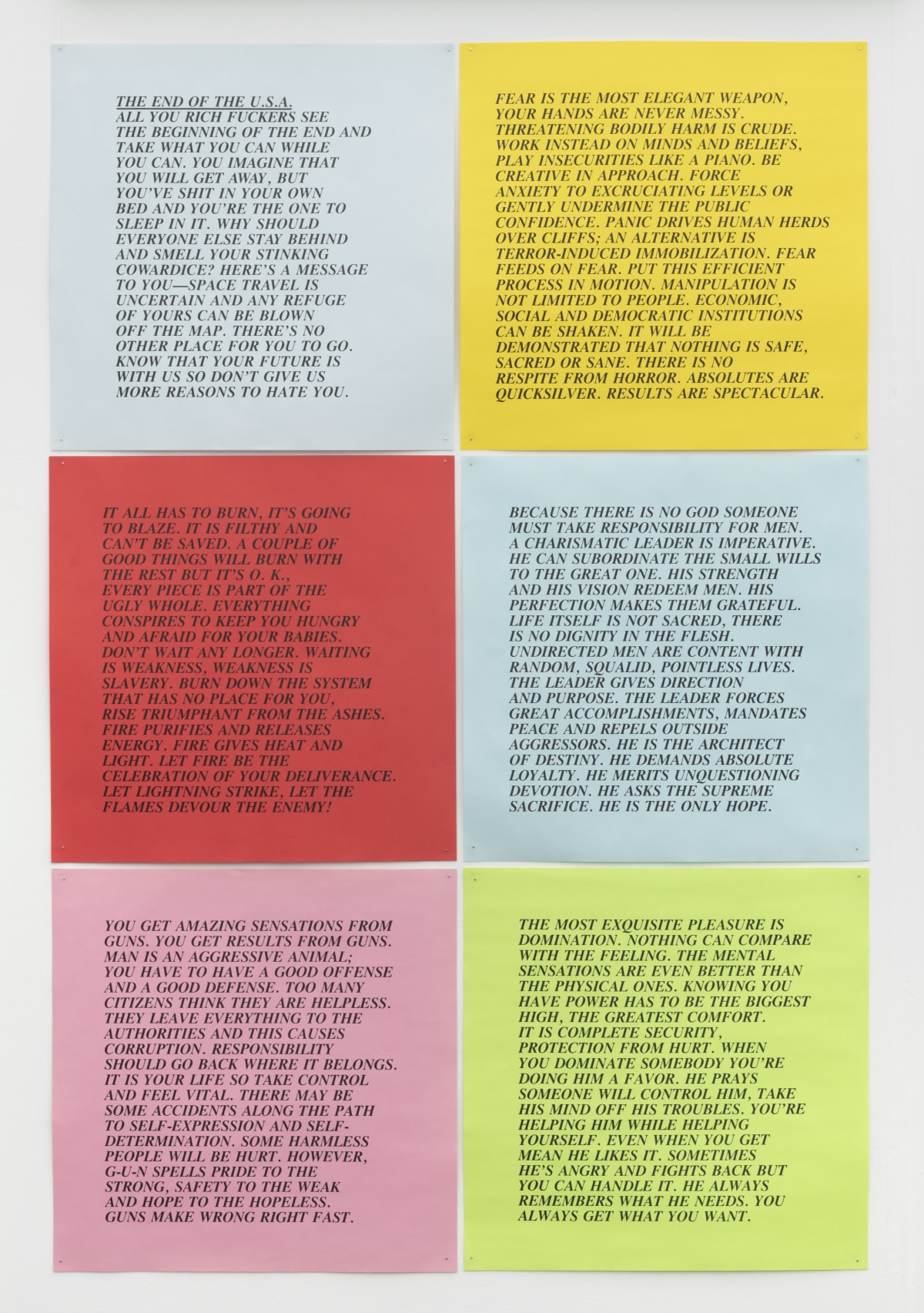 Jenny Holzer 10 Inflammatory Essays 1979 - 1982, 1993/2018 Inkjet on paper, unlimited edition. This series produced in an original set of 30 25 x 25 cm
