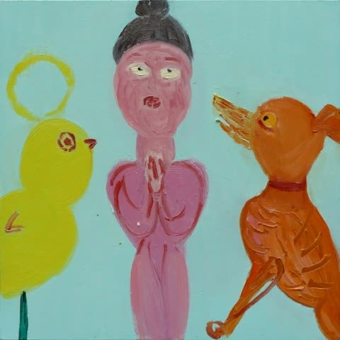 Georgia Hayes Meditating with a Dog, 2012 Oil on canvas. Signed and dated on verso 50 x 50 cm