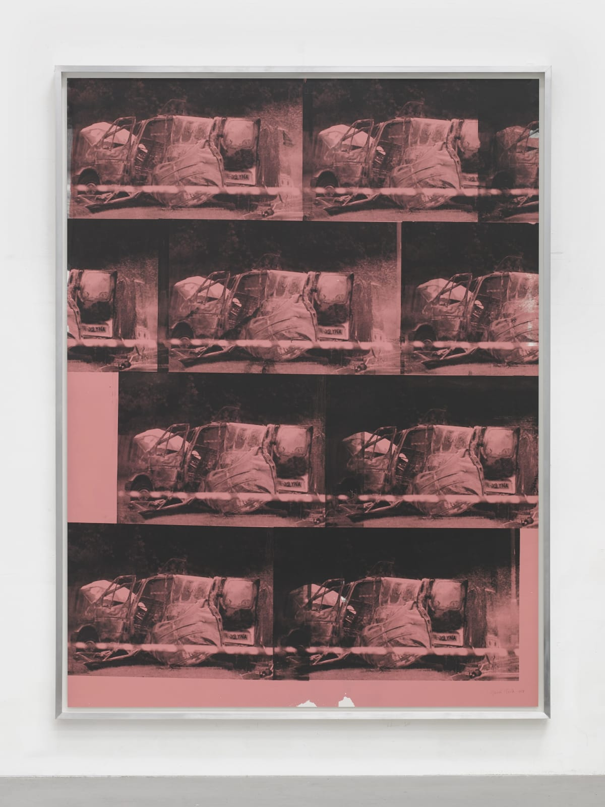 Gavin Turk Transit Disaster Black on Pink, 2018 Silkscreen on Heritage Rag paper. Unique Sheet size: 244 x 185 cm Framed size: 251 x 191 x 7.5 cm Signed and dated on the bottom right hand corner