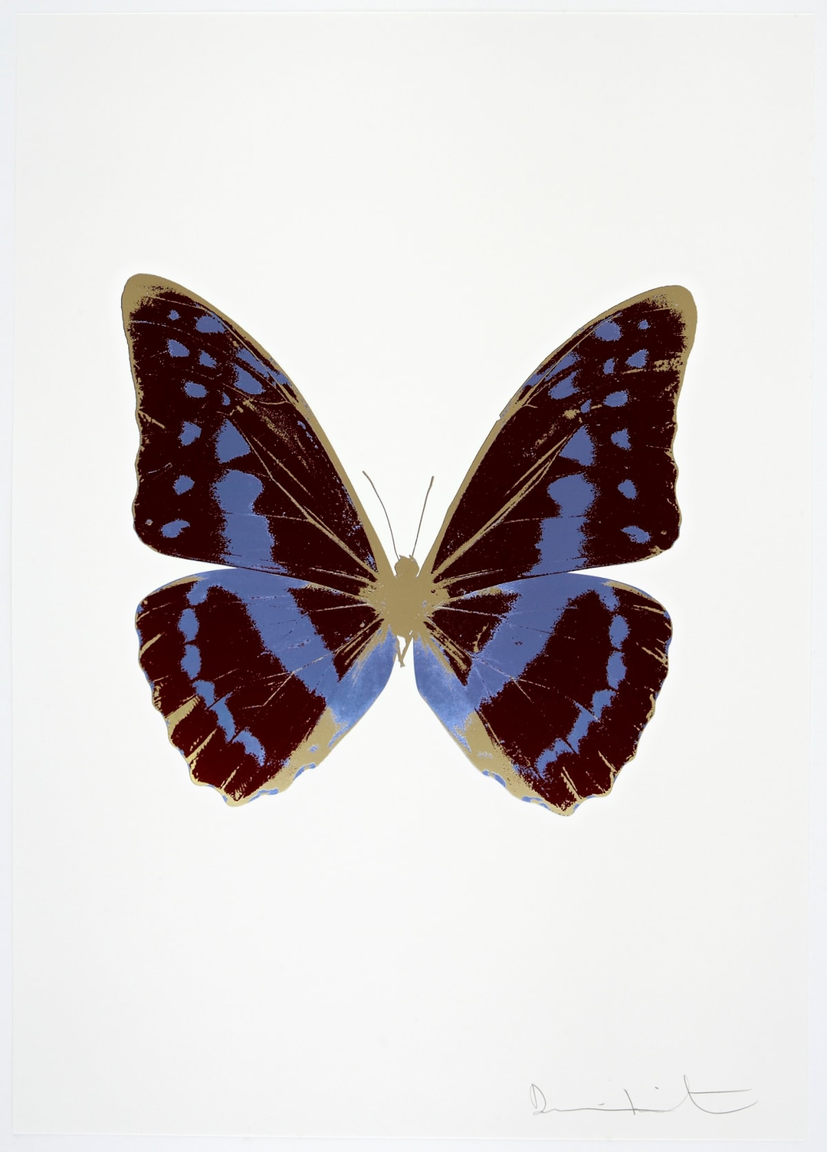 Damien Hirst The Souls III - Burgundy/Cornflower Blue/Cool Gold, 2010 3 colour foil block on 300gsm Arches 88 archival paper. Signed and numbered. Published by Paul Stolper and Other Criteria 72 x 51cm OC7950 / 660-53 Edition of 15