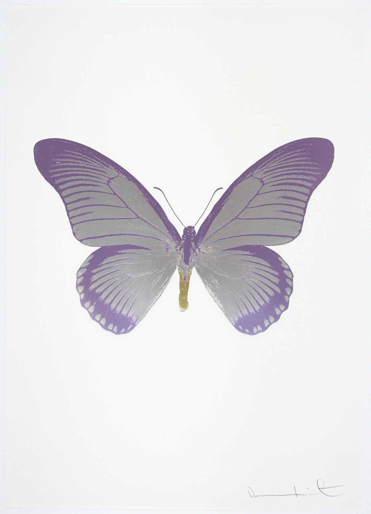 Damien Hirst The Souls IV - Silver Gloss/Aquarius/Cool Gold Damien Hirst butterfly foil print for sale Damien Hirst print for sale , 2010 3 colour foil block on 300gsm Arches 88 archival paper. Signed and numbered. Published by Paul Stolper and Other Criteria 72 x 51cm OC8031 / 1418-54 Edition of 15