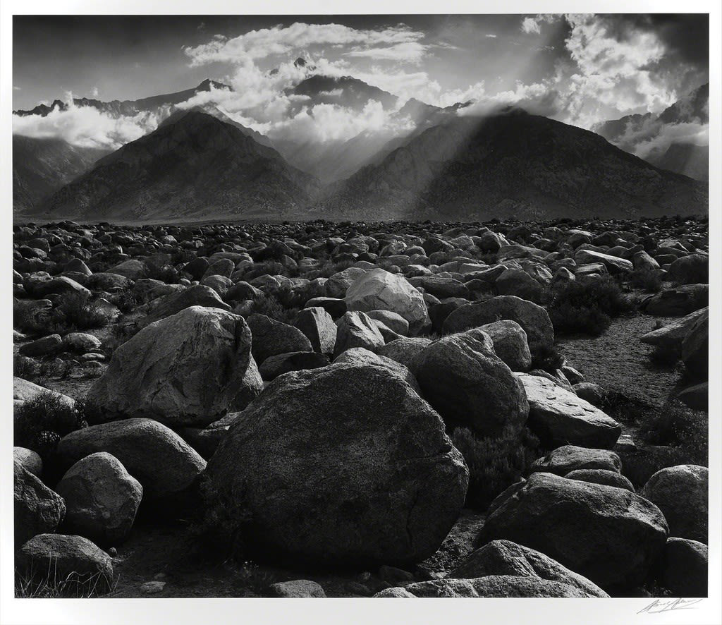 "Ansel Adams Mt. Williamson, Sierra Nevada, from Manzanar, CA, 1945 (Printed Late 1970's) Gelatin Silver Print Image 15.5""x18.5, Matted 24""x30"" © Ansel Adams. Courtesy of the Ansel Adams Publishing Trust"