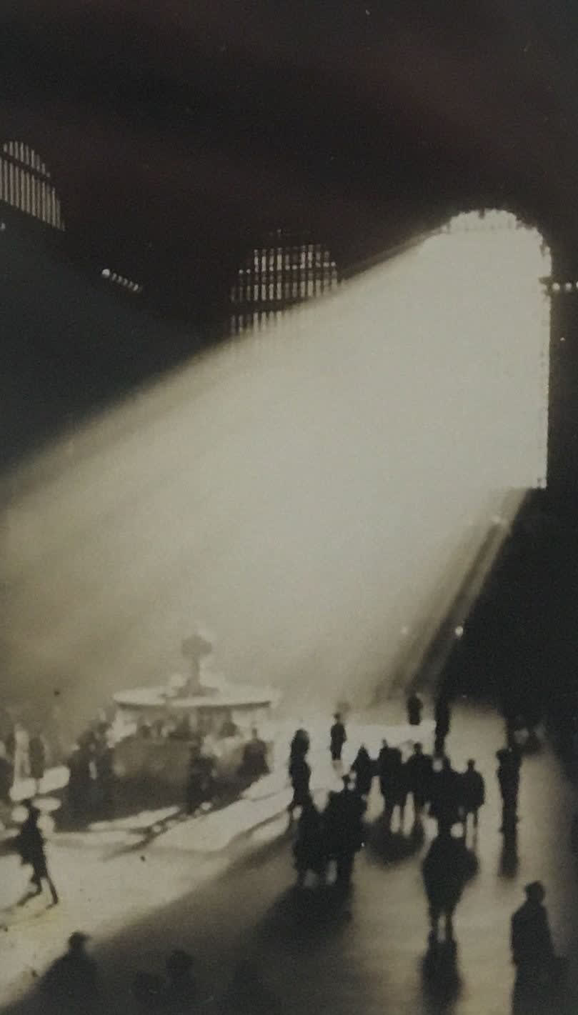 """Fred Zinnemann 1907-1997Light in Grand Central Station Terminal, March 2, 1932 """"Estate of Fred Zinnemann"""" & signed by his son Tim Zinnemann in pencil on verso Vintage gelatin silver print 4 1/4 x 2 1/2 inches"""
