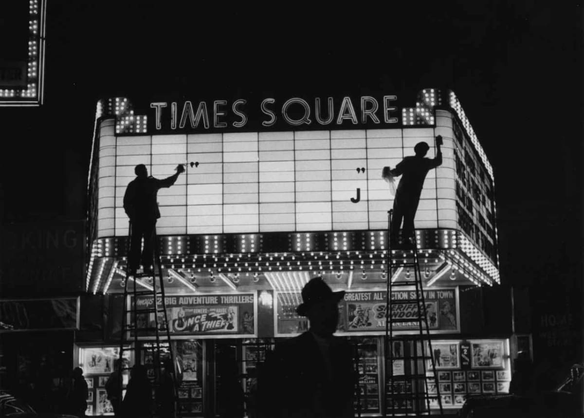 Sabine Weiss Times Square, New York, 1955, printed later Gelatin Silver Print Paper 16 x 20 inches; Image 11 3/8 x 17 inches