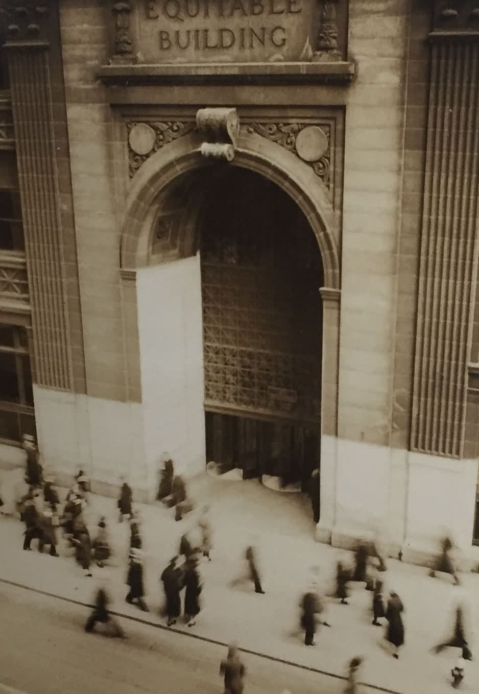 Fred Zinnemann People Walking in front of Equitable Building, c. 1932 Vintage gelatin silver print 3 3/8 x 2 3/8 inches