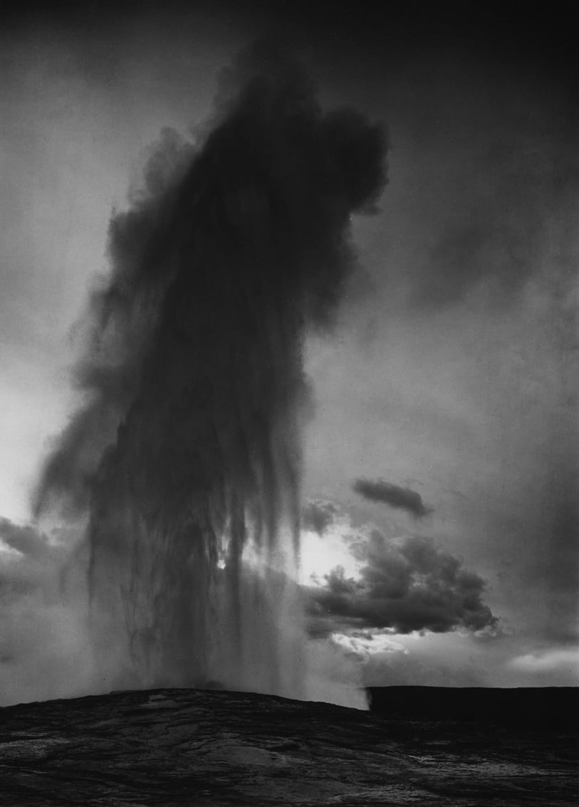 "Ansel Adams Old Faithful Geyser, Yellowstone National Park, Wyoming, 1942 (Printed 1950) Gelatin silver print Image - 7.5""x9.5"", Mount - 14""x18"", Matted - 16""x20"" © Ansel Adams. Courtesy of the Ansel Adams Publishing Trust Edition 21 of 105"