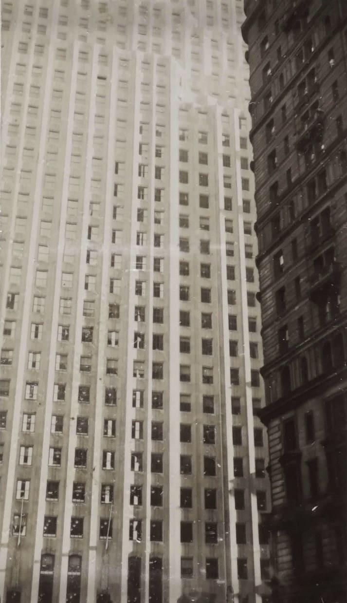 Fred Zinnemann Untitled [skyscrapers], n.d. Vintage gelatin silver print 4 1/8 x 2 3/8 inches
