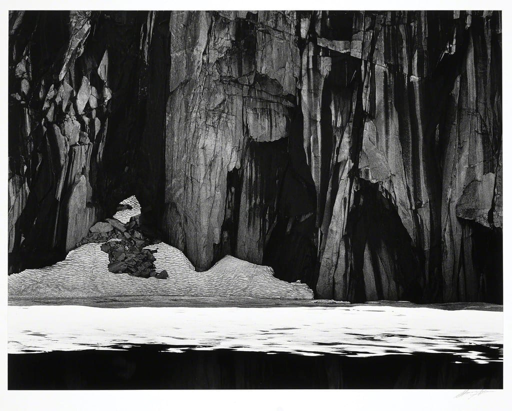 "Ansel Adams Frozen Lake and Cliffs, The Sierra Nevada, California, 1932 (Printed 1980) Gelatin Silver Print Image - 16""x20, Matted - 24""x30"" © Ansel Adams. Courtesy of the Ansel Adams Publishing Trust"