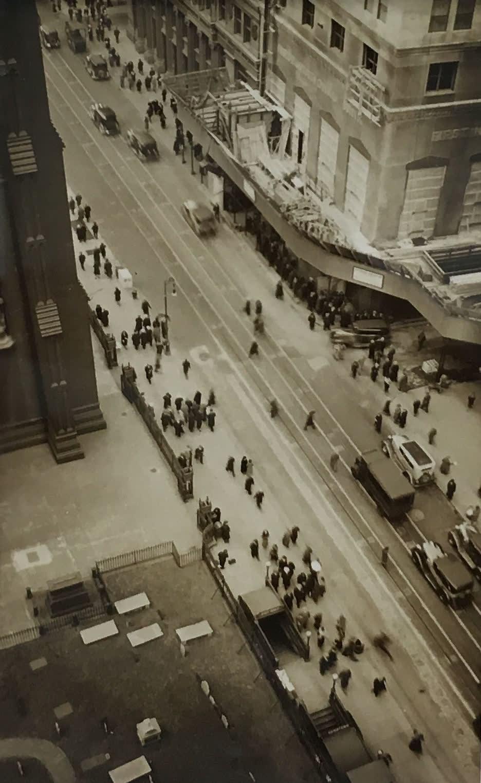 Fred Zinnemann Aerial View of Street, 1931 Vintage gelatin silver print 4 1/8 x 2 3/8 inches