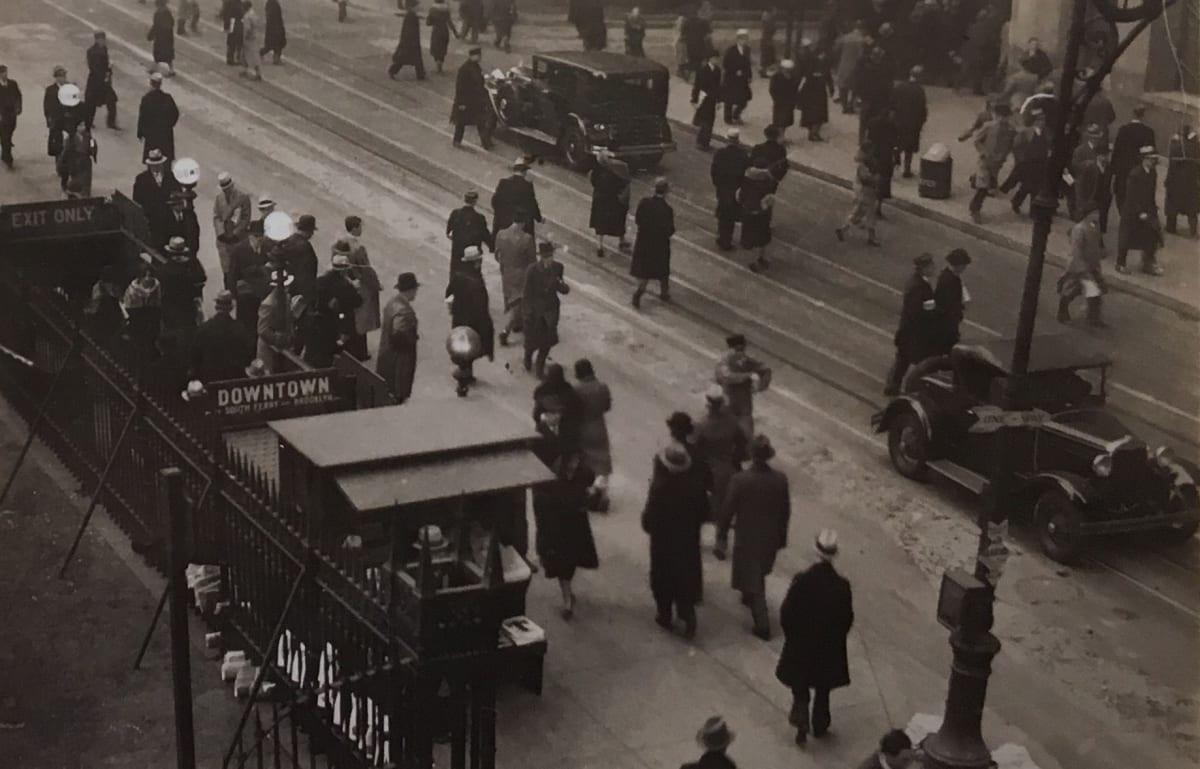 Fred Zinnemann Untitled [subway entrance/exit], c. 1932 Vintage gelatin silver print 2 x 2 7/8 inches