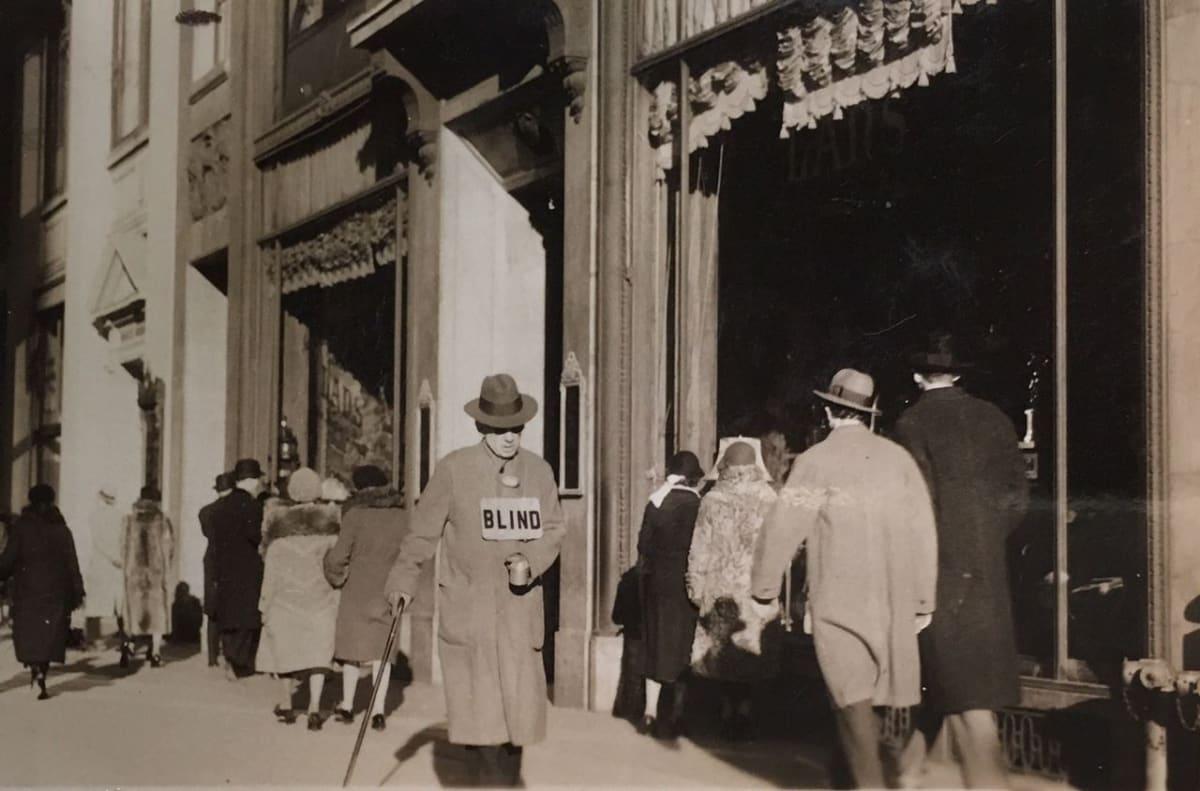 """Fred Zinnemann 1907-1997Blind Man, 1932 """"Estate of Fred Zinnemann"""" & signed by his son Tim Zinnemann in pencil on verso Vintage gelatin silver print 1 7/8 x 2 7/8 inches"""