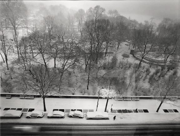 Elliott Erwitt New York City [Central Park, snow storm], 1977 Gelatin silver print 20 x 24 inches; Mat 24 x 30 inches
