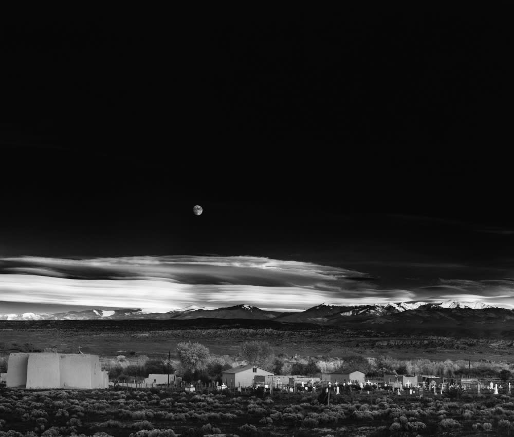 "Ansel Adams Moonrise, Hernandez, New Mexico, 1941 (Printed 1970's) Gelatin Silver Print Image - 15.25""x19.5"", Mount 22""x28"", Matted - 24""x30"""
