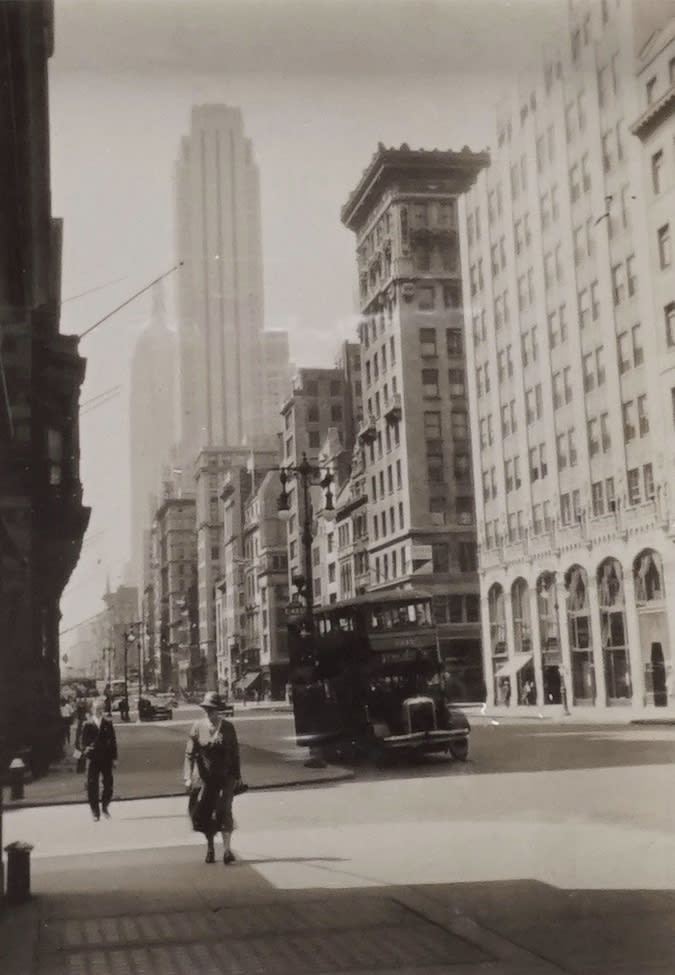 Fred Zinnemann 5th Ave & 54th Street, Looking Downtown, August 31, 1932 Gelatin silver print 3 1/4 x 2 1/4 inches; Signed, titled & dated in pencil on verso