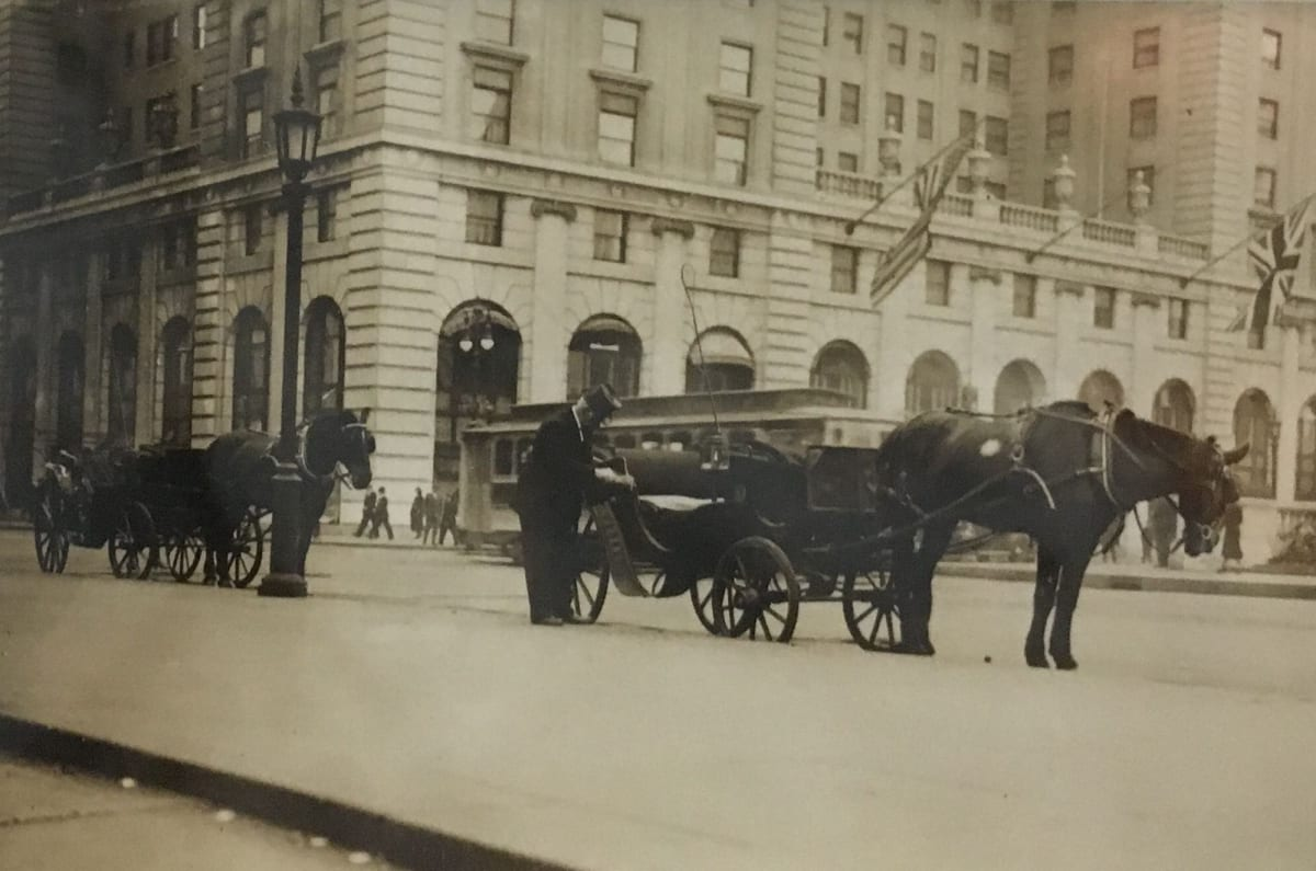 Fred Zinnemann Untitled [horse carriages in front of the Plaza], n.d. Vintage gelatin silver print 2 7/8 x 2 inches