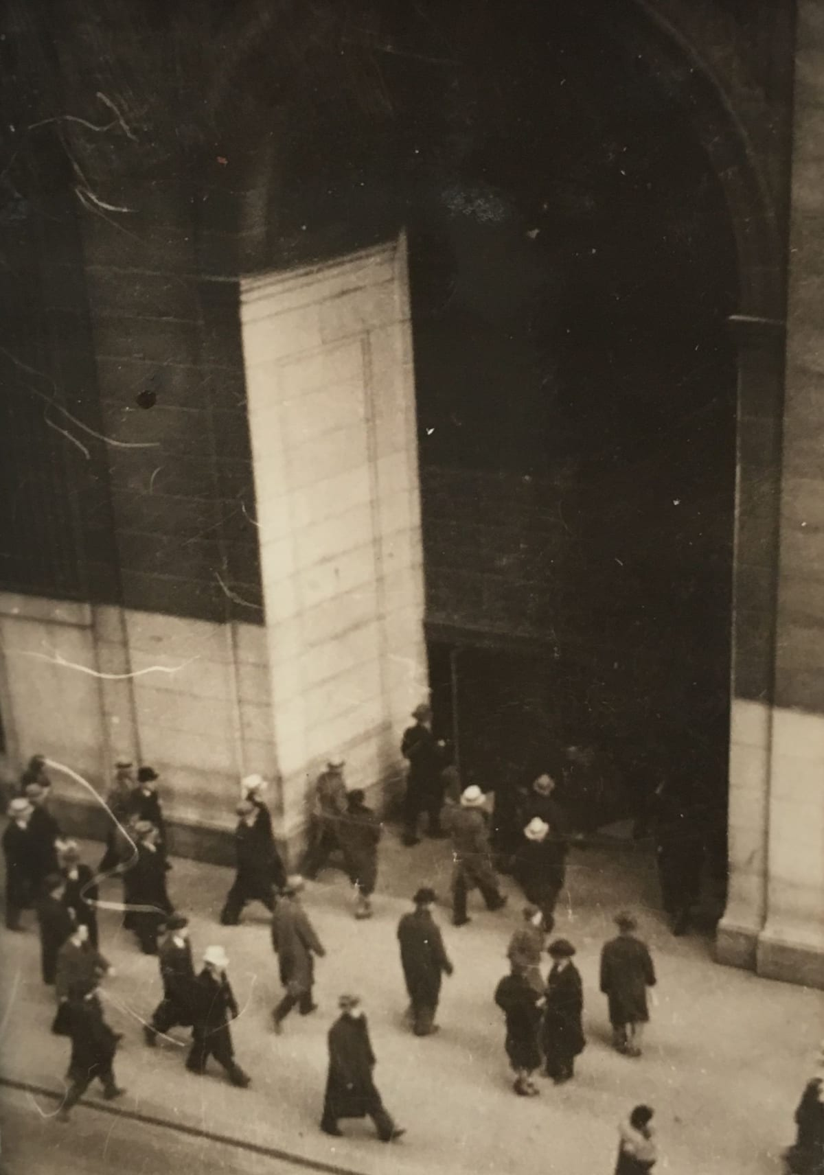 Fred Zinnemann People on Street in front of the Equitable Building, c. 1932 Vintage gelatin silver print 2 7/8 x 1 7/8 inches