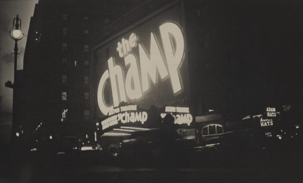 """Fred Zinnemann 1907-1997The Champ, Astor Theatre, Times Square, New York, November 1931 """"Estate of Fred Zinnemann"""" & signed in pencil by his son Tim Zinnemann on verso Vintage gelatin silver print 2 7/8 x 4 3/4 inches"""