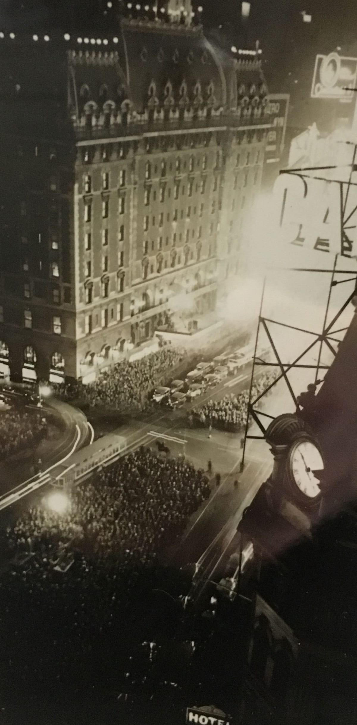 """Fred Zinnemann 1907-1997Election Night for Franklin D. Roosevelt, Times Square, 1932 """"This is probably the print we used in the book"""" notated on verso; """"Estate of Fred Zinnemann"""" & signed by his son Tim Zinnemann in pencil on verso Vintage gelatin silver print 4 1/4 x 2 3/8 inches"""
