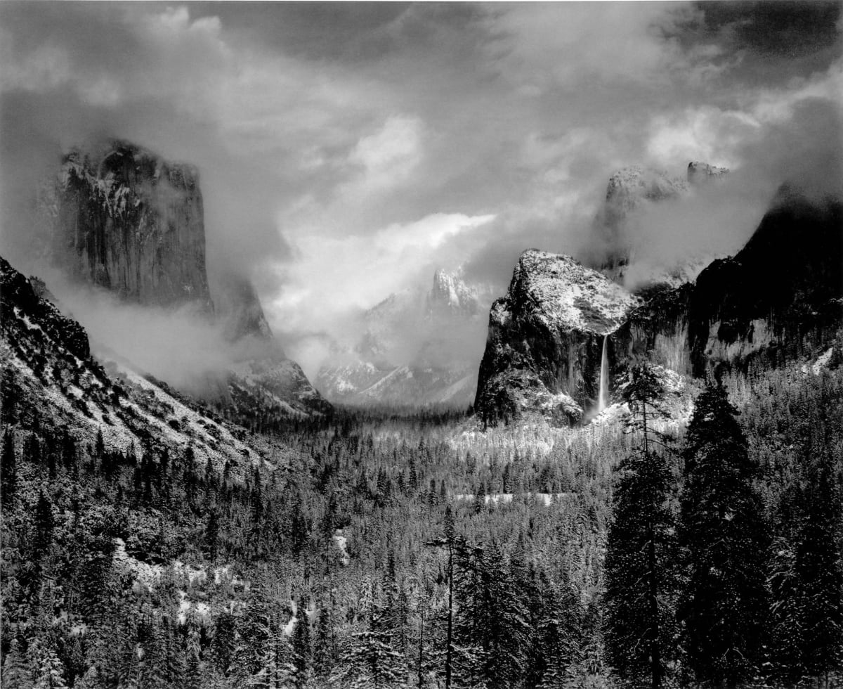 "Ansel Adams Clearing Winter Storm, Yosemite National Park, CA, 1944 (Printed 1970's) Gelatin Silver Print Image - 15.25""x19.5"", Mount 22""x28"", Matted - 24""x30"" © Ansel Adams. Courtesy of the Ansel Adams Publishing Trust"