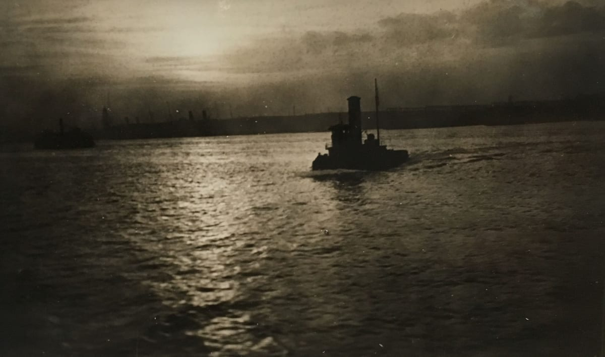 Fred Zinnemann Steamboat on Hudson River, New York, November 1931 Vintage gelatin silver print 2 1/2 x 4 1/8 inches