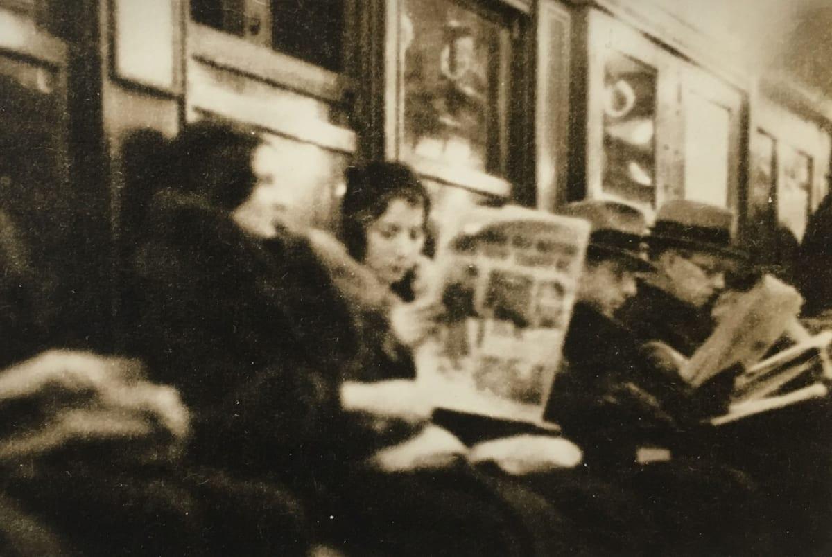 "Fred Zinnemann 1907-1997Untitled [subway passengers], 1932 ""Estate of Fred Zinnemann"" & signed by his son Tim Zinnemann in pencil on verso Vintage gelatin silver print 2 1/2 x 3 1/2 inches"
