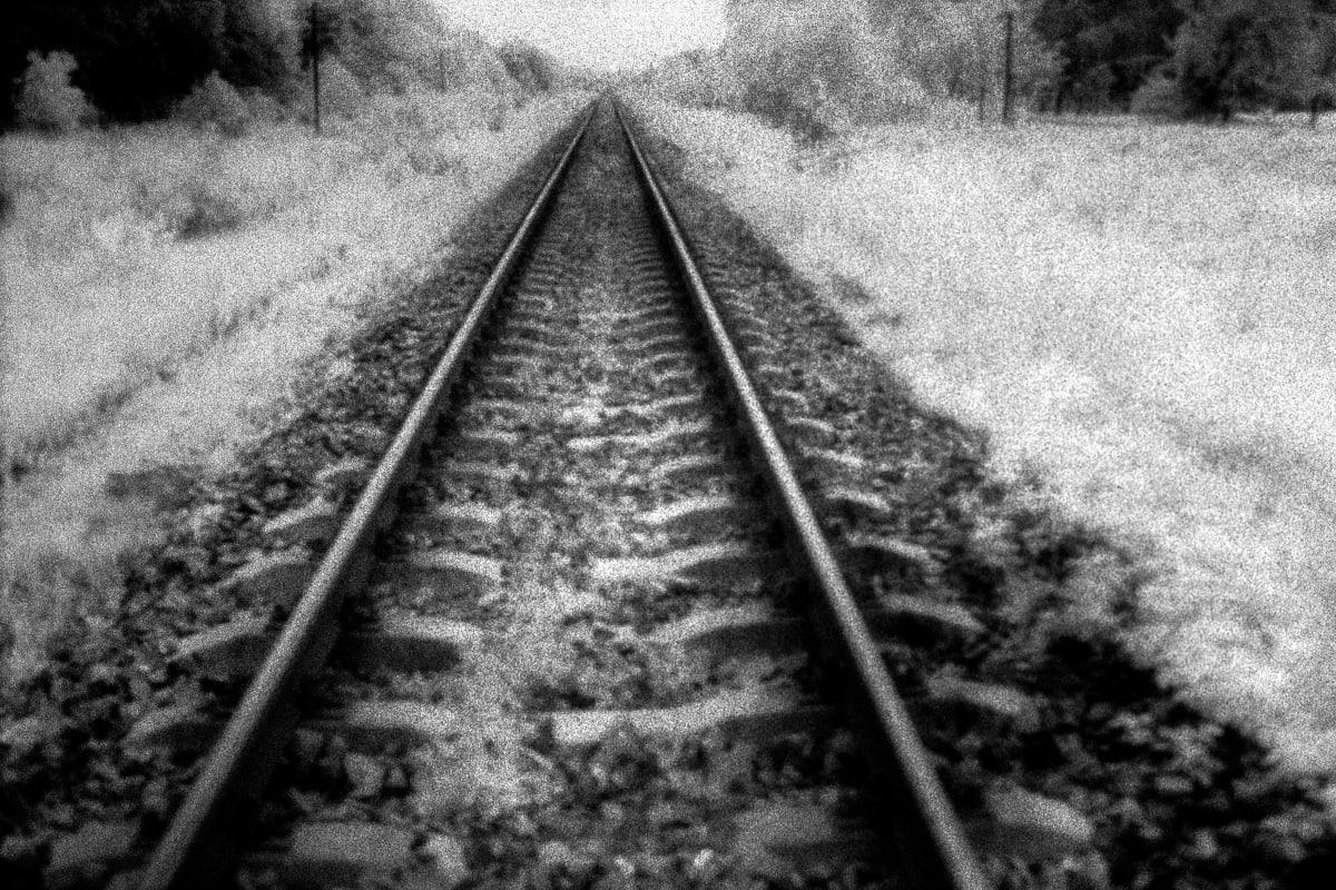 "Judy Glickman Lauder Railroad tracks from Warsaw to Treblinka extermination camp, 2018 Archival Pigment print 18 x 22"""