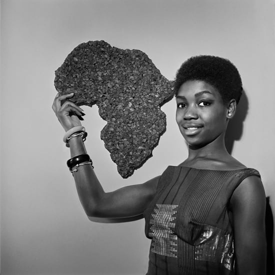 Kwame Brathwaite, Untitled (Nomsa with Africa corkboard at AJASS studios), 1964 c., printed 2017