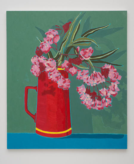 Holly Coulis, Pink Flowers, Red Vase, 2011
