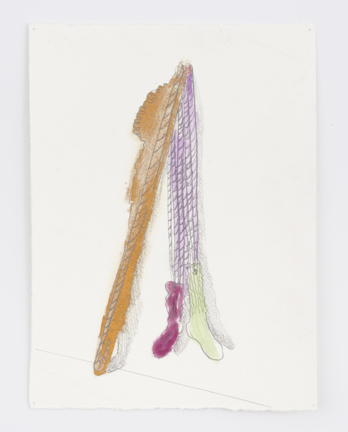 Katy Cowan, First Sketch for Wheels and Scales and Spray Rope (Walking Position), 2017