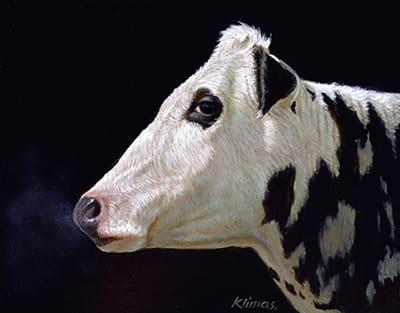 Alexandra Klimas Miniature painting, Lobke the Cow Oil on panel 12 x 15 cm