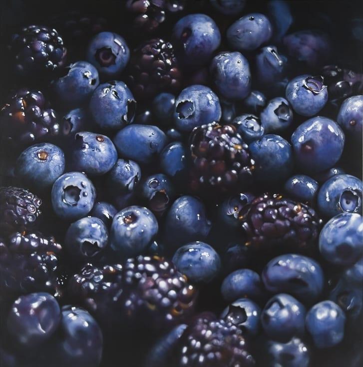 Ben Schonzeit Black and Blue Berries Acrylic on linen 183 x 183 cm