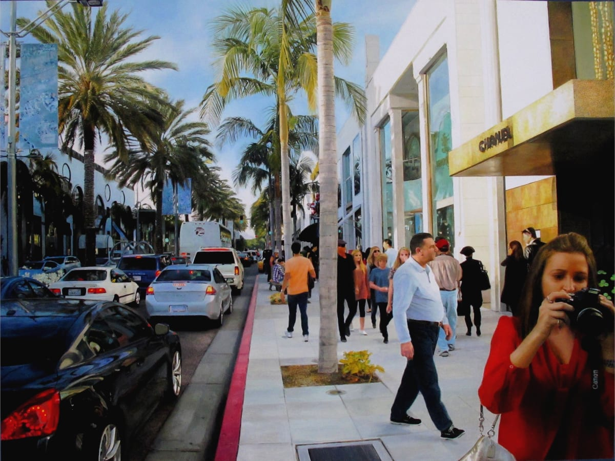 Romain E. Shopping on Rodeo Drive Acrylic and Oil on Cardboard 44 x 71 cm
