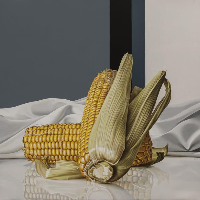 Elena Molinari Two Corncobs Oil on Canvas 100 x 100 cm