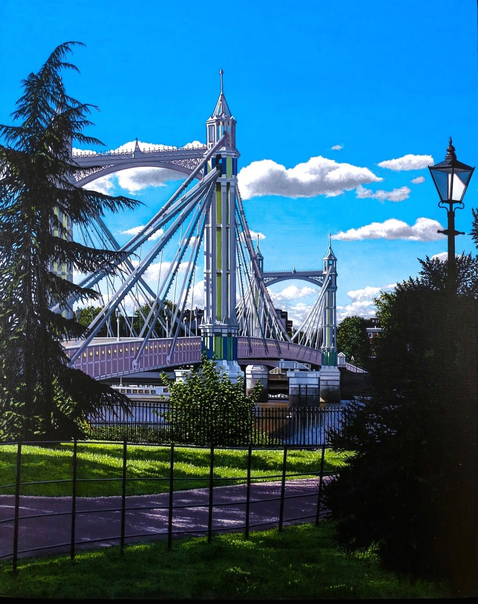 Christian Marsh Albert Bridge Oil on canvas 50 x 40 cm