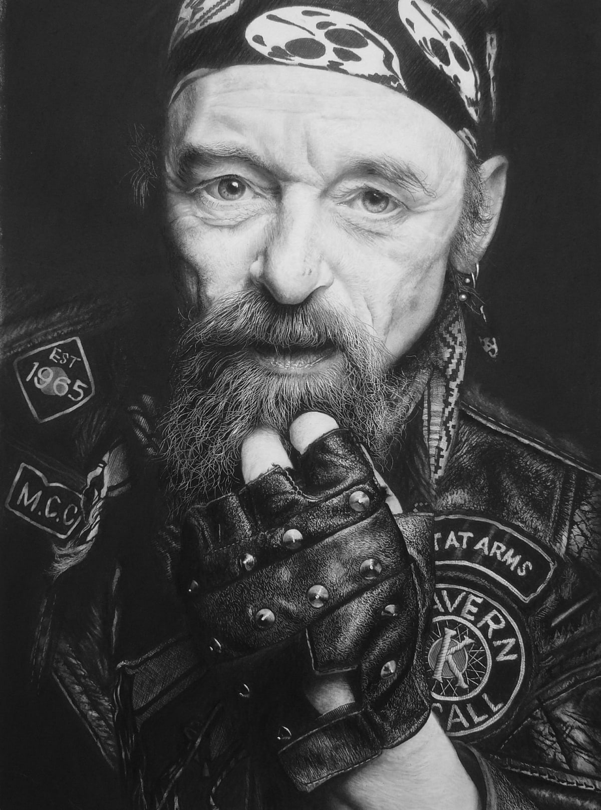 "Andrew Tift Bandana Charcoal, graphite, carbon, ink 23 x 19"" 58.5 x 48.25 cm"