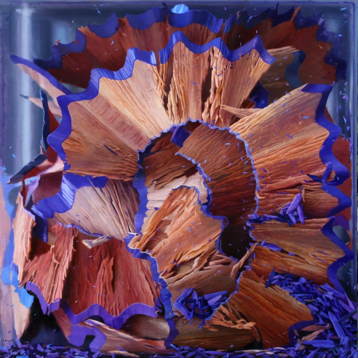 Javier Banegas Shavings V Oil on board 80 x 80 cm