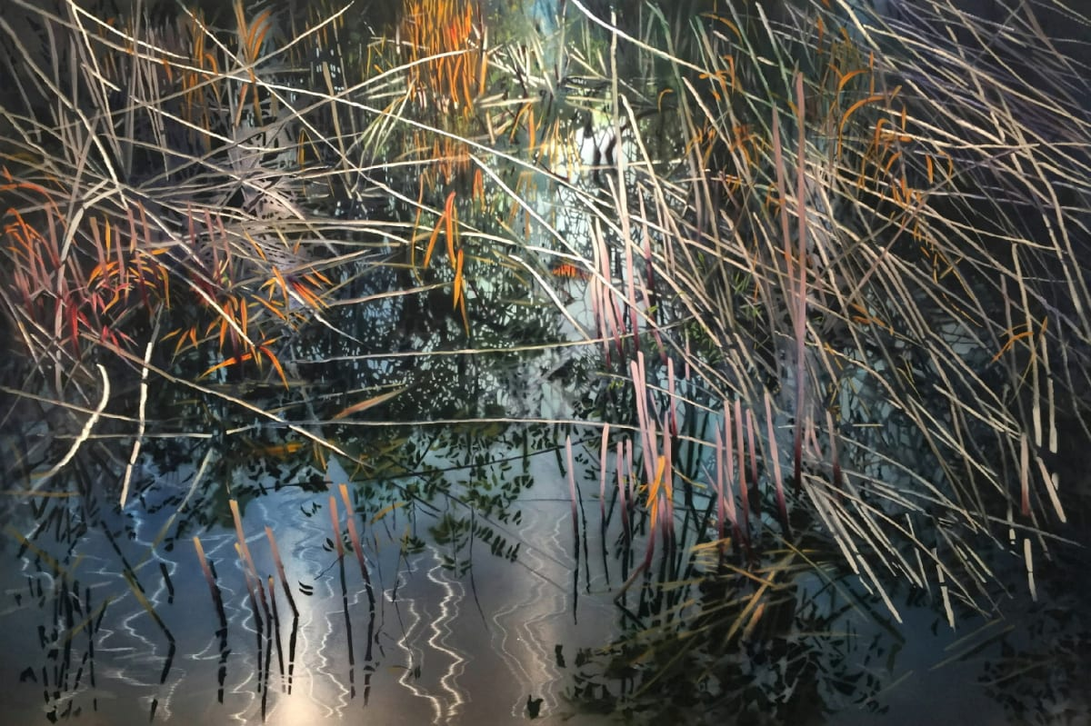 David Kessler Silvered Reeds Acrylic and resin on abraded aluminium 122 x 183 cm