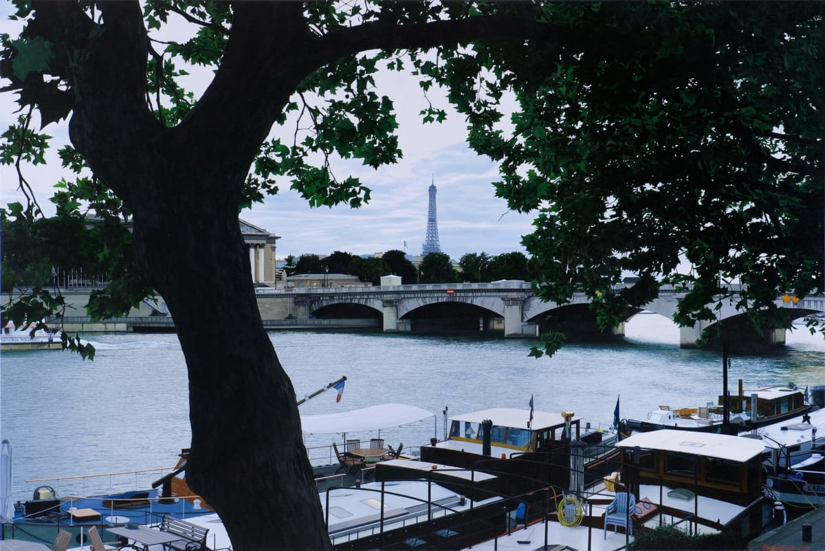 "Christian Marsh View across the Seine. Paris Oil on canvas 39 x 59"" 100 x 150 cm"